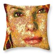 Sandra Bullock In The Way Of Arcimboldo Throw Pillow
