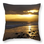 Sandy Bay At Dusk Throw Pillow