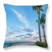 Sandy Beach And Beautiful Clouds  Throw Pillow