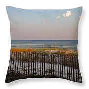 Sandy Beach And Three Tiny Clouds Throw Pillow