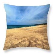 sandy beach in Piscinas Throw Pillow