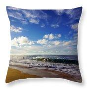 Sandy Beach Morning Rainbow Throw Pillow