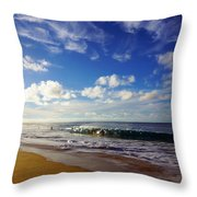 Sandy Beach Morning Rainbow Throw Pillow
