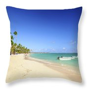 Sandy Beach On Caribbean Resort  Throw Pillow
