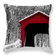 Sandy Creek Cover Bridge With A Touch Of Red Throw Pillow
