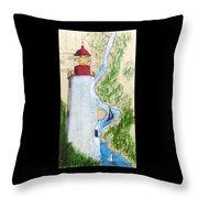 Sandy Hook Lighthouse Nj Chart Map Art Peek Throw Pillow