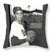 Sandy Koufax Photo Portrait Throw Pillow