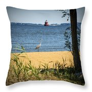Sandy Pt Shoal Lighthouse And Blue Heron Throw Pillow