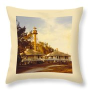 Sanibel Lighthouse Landscape Throw Pillow