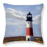 Sankaty Head Lighthouse Nantucket Massachusetts Throw Pillow
