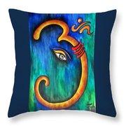 Sanskrit Om Ganesha Throw Pillow