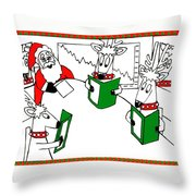 Santa And Reindeer Conference Throw Pillow