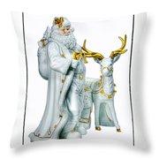 Santa And Reindeer Throw Pillow