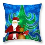 Santa And Reindeer In Winter Snow Scene Throw Pillow