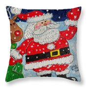 Santa And Rudolph Throw Pillow