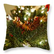Santa And Sleigh Throw Pillow