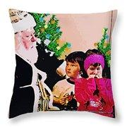 Santa And The Kids Throw Pillow