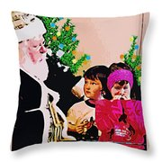 Santa And The Kids Throw Pillow
