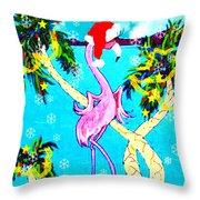 Santa Baby Flamingo Throw Pillow