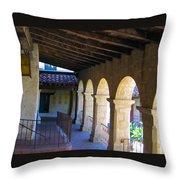 Santa Barbara Mission Cloister Throw Pillow