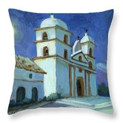 Santa Barbara Mission Moonlight Throw Pillow