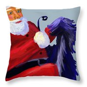 Santa Blue Throw Pillow