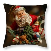 Santa Claus - Antique Ornament - 04 Throw Pillow