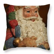 Santa Claus - Antique Ornament - 09 Throw Pillow by Jill Reger