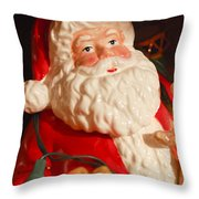 Santa Claus - Antique Ornament - 13 Throw Pillow by Jill Reger