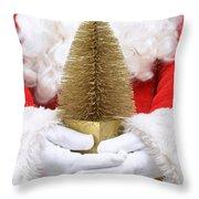 Santa Claus Holding Christmas Tree Throw Pillow