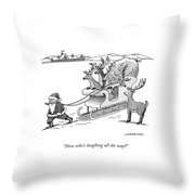 Santa Claus Pulls A Sleigh Full Of Reindeer Throw Pillow
