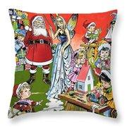 Santa Claus Toy Factory Throw Pillow by Jesus Blasco