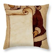 Santa Claus Wishlist Original Coffee Painting Throw Pillow