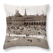 Santa Cruz Beach From Pleasure Pier  California Circa 1908 Throw Pillow