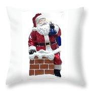 Santa Down The Chimney Throw Pillow