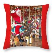 Santa Go Round Throw Pillow