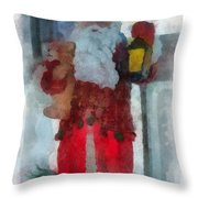 Santa Merry Christmas Photo Art 02 Throw Pillow