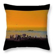 Santa Monica Beach Sunset Throw Pillow
