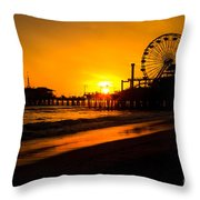 Santa Monica Pier California Sunset Photo Throw Pillow by Paul Velgos