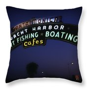 Santa Monica Pier Sign Throw Pillow
