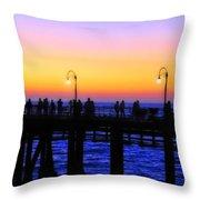 Santa Monica Pier Sunset Silhouettes Throw Pillow