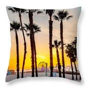 Santa Monica Palms Throw Pillow