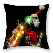 Santa Motoring Throw Pillow