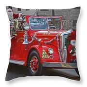 Santa On Fire Truck Throw Pillow