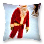 Santa On Ice Throw Pillow