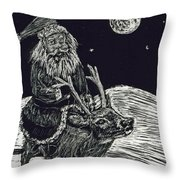 Santa On Reindeer Throw Pillow