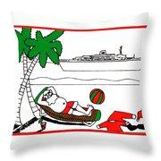 Santa On Vacation Throw Pillow