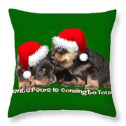 Santa Paws Is Coming To Town Christmas Greeting Throw Pillow