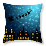 Santa Sleigh Reindeer Flying Over Victorian Houses Throw Pillow
