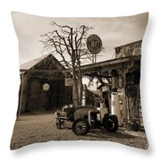 Santa Ynes Gas Station    Sepia Throw Pillow